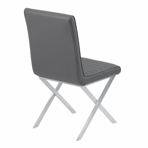 Tempe Dining Chair in Gray Faux Leather with Brushed Stainless Steel Finish - Set of 2 Perspective: top