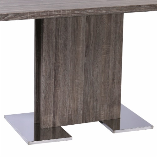 Zenith Dining Table with Brushed Stainless Steel Base and Gray Walnut Veneer Finish Perspective: top