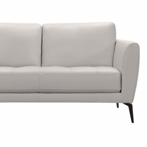 Armen Living Hope Contemporary Loveseat in Genuine Dove Grey Leather with Black Metal Legs Perspective: top