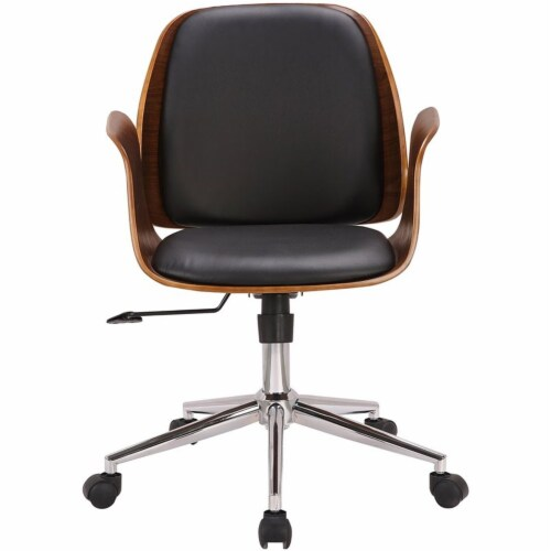 Armen Living Santiago Faux Leather Swivel Office Chair in Black Perspective: top