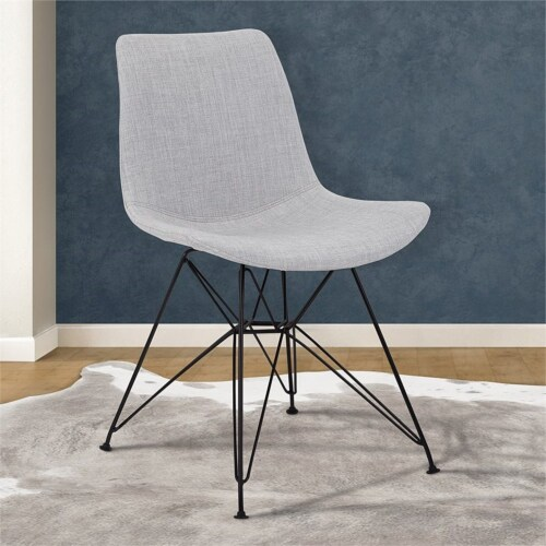 Armen Living Palmetto Upholstered Dining Side Chair in Gray Perspective: top