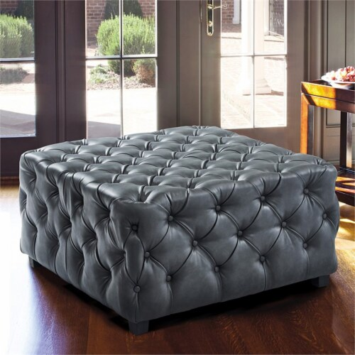 Armen Living Taurus Faux Leather Tufted Ottoman in Gray Perspective: top