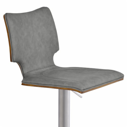 Barstool in Brushed Stainless Steel with Vintage Grey Faux Leather and Walnut Wood Back Perspective: top
