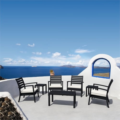 Artemis XL Club Patio Set 7 Piece Black with Acrylic Fabric Natural Cushions Perspective: top
