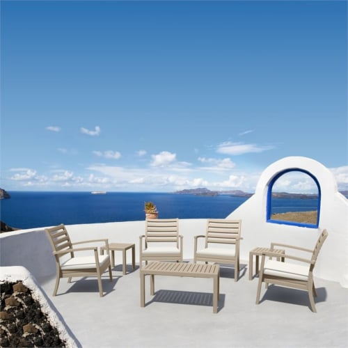 Artemis XL Club Patio Set 7 Piece Taupe with Acrylic Fabric Natural Cushions Perspective: top
