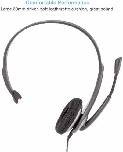 Cyber Acoustics Mono Headset with Y-Adapter - Black Perspective: top