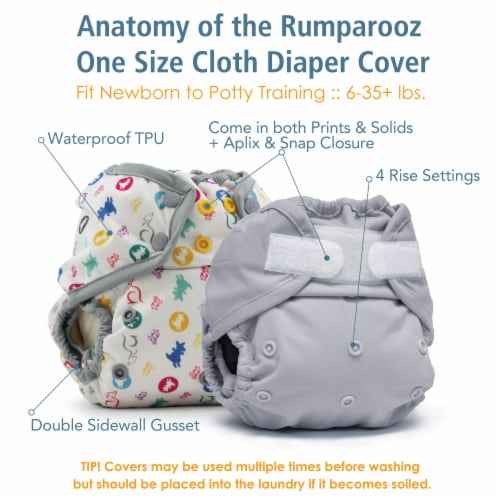 Kanga Care Rumparooz One Size Reusable Cloth Diaper Cover Aplix Dragons Fly - Castle 6-35 lbs Perspective: top
