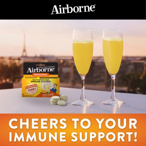 Airborne Very Berry Vitamin C Immune Support Supplement Effervescent Tablets 1000mg Perspective: top
