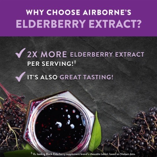 Airborne Elderberry Extract + Vitamin C Chewable Supplement Tablets Perspective: top