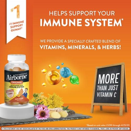 Airborne Original Orange Immune Support Supplement Gummies Perspective: top