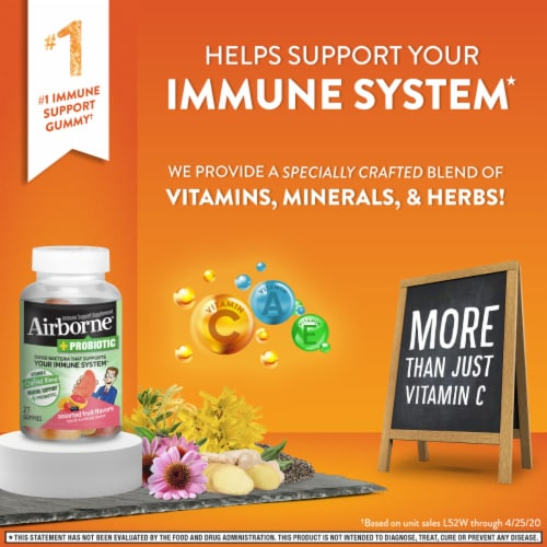 Airborne + Probiotic Assorted Fruit Flavors Immune Support Gummies Perspective: top