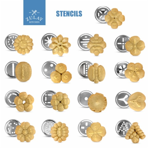 Zulay Kitchen Classic Cookie Press with 20 Decorative Stencil Discs and 4 Icing Tips Perspective: top