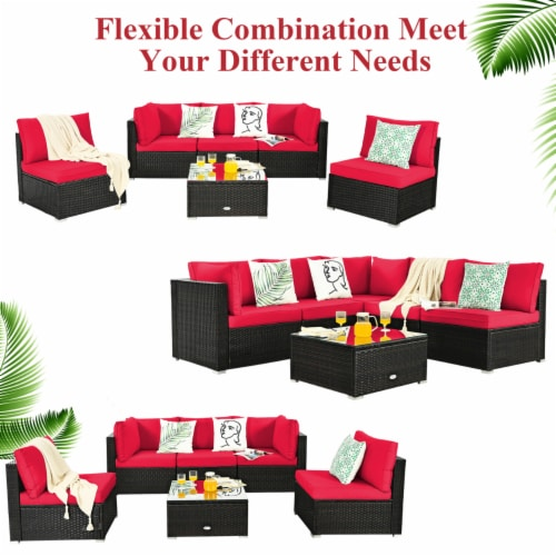 Gymax 6PCS Rattan Outdoor Sectional Sofa Set Patio Furniture Set w/ Red Cushions Perspective: top