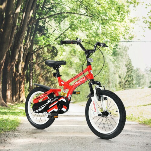 Gymax 16'' Kids Bike Toddlers Adjustable Freestyle Bicycle w/ Training Wheels Perspective: top