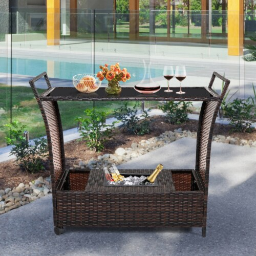 Gymax Rattan Patio Bar Cart Beverage Bar Counter Table w/ Wheels & Ice Bucket Perspective: top