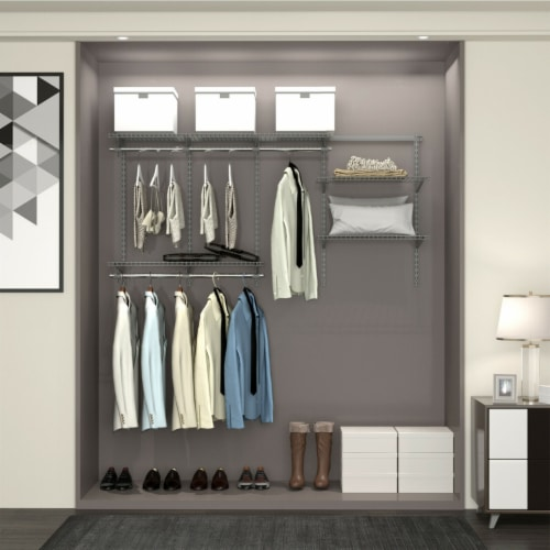 Gymax Custom Closet Organizer Kit 3 to 6 FT Wall-mounted Closet System w/Hang Rod Grey Perspective: top