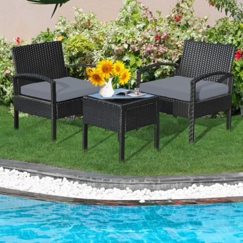 Gymax 3PCS Patio Rattan Conversation Furniture Set Outdoor Yard w/ Grey Cushions Perspective: top