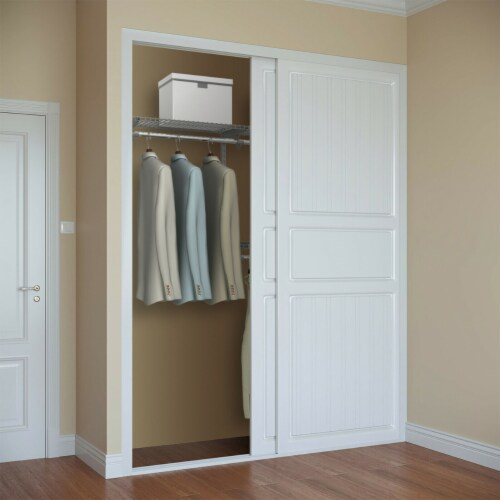 Gymax Custom Closet Organizer Kit 4 to 6 FT Wall-mounted Closet System w/Hang Rod Grey Perspective: top