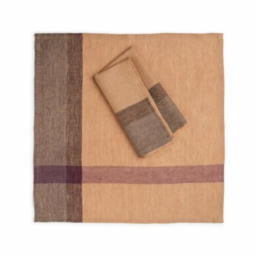"""GOLDEN RAISIN Napkin (set of 2). 20""""x20"""" Handwoven Flax Linen Perspective: top"""