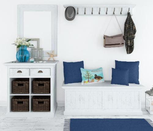 Silver Bantam Duck Christmas Canvas Fabric Decorative Pillow Perspective: top