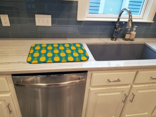 Carolines Treasures  BB5145DDM Pineapples on Teal Dish Drying Mat Perspective: top