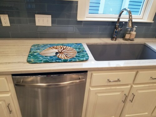 Carolines Treasures  BB5368DDM Sea Shell and Water Dish Drying Mat Perspective: top
