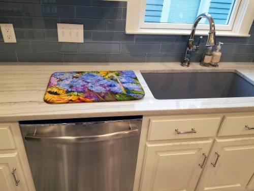 Carolines Treasures  JMK1119DDM Hydrangeas and Sunflowers Dish Drying Mat Perspective: top
