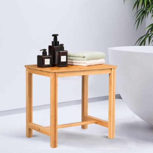 Costway 18'' Shower Stool Bamboo Shower Bench Bath Spa Seat with Storage Shelf Natural Perspective: top