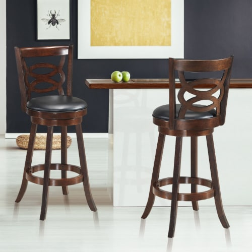 Costway Set of 2 Bar Stools 29'' Height Wooden Swivel Backed Dining Chair Home Kitchen Perspective: top
