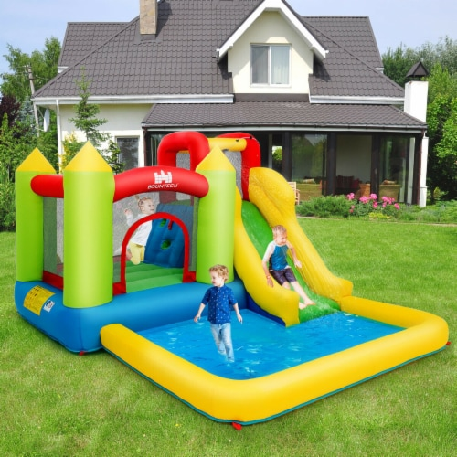 Gymax Outdoor Inflatable Bounce House Water Slide Climb Bouncer Pool Perspective: top
