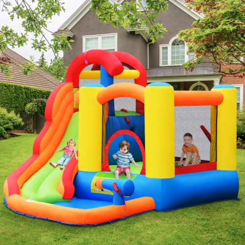 Costway Inflatable Bounce House Kid Water Splash Pool Slide Jumping Castle w/740W Blower Perspective: top