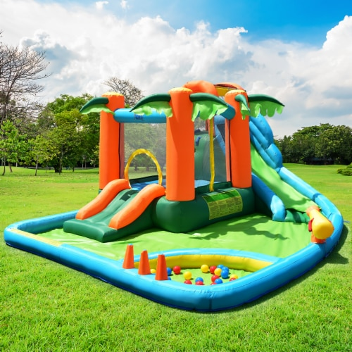Costway Inflatable Bounce House Kids Water Splash Pool Dual Slide Jumping Castle w/ Bag Perspective: top