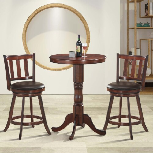 Costway Set of 2 25'' Swivel Bar stool Leather Padded Dining Kitchen Pub Bistro Chair High Perspective: top