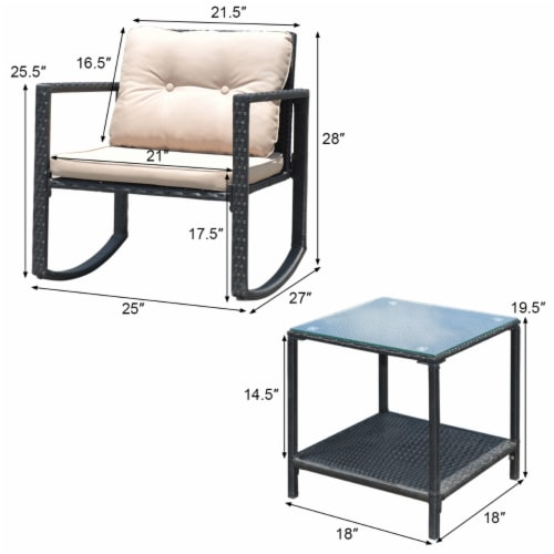 Costway 3PC Patio Rattan Conversation Set Rocking Chair Cushioned Sofa Garden Furniture Perspective: top