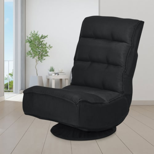 Costway Gaming Chair Fabric 5-Position Folding Lazy Sofa 360 Degree Swivel Black Perspective: top