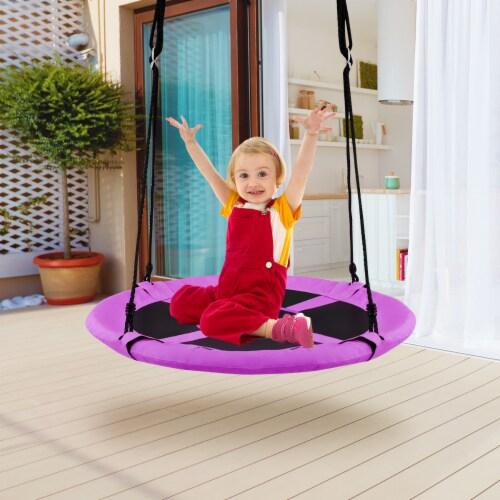 Costway 40'' Flying Saucer Tree Swing Indoor Outdoor Play Set Kids Christmas Gift Purple Perspective: top