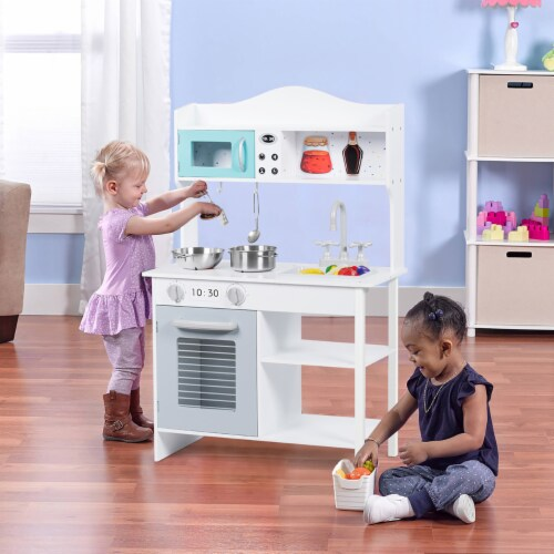 Costway Kids Kitchen Playset Cookware Cooking Set with Pots & Pans Perspective: top