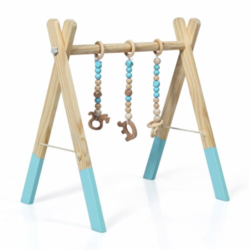 Foldable Wooden Baby Gym with 3 Wooden Baby Teething Toys Hanging Bar Green Perspective: top