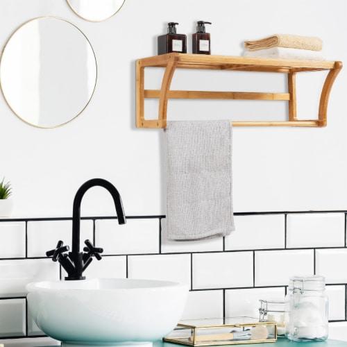 Costway Bamboo Towel Rack Wall Mounted Storage Shelf Bar Bathroom Natural Perspective: top