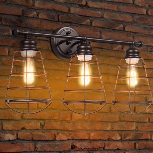 Costway 3-Light Vanity Light Metal Wire Cage Wall Sconce Bathroom Fixture Artist Lamp Perspective: top