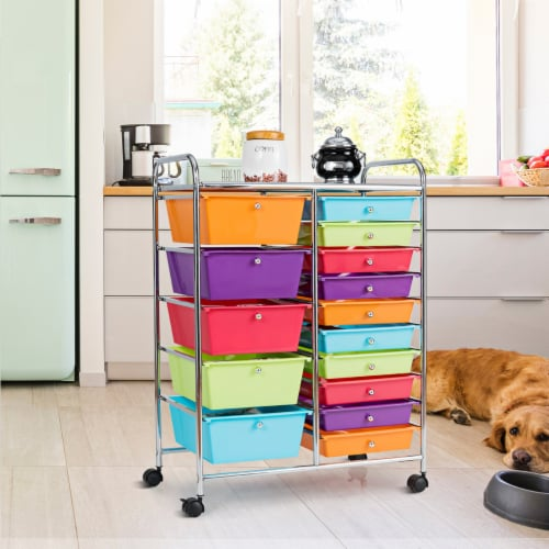 Costway 15 Drawer Rolling Storage Cart Storage Rolling Carts Drawers Perspective: top