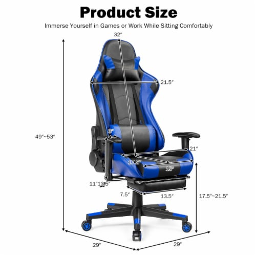 Costway Gaming Recliner Racing Chair w/ Lumbar Support & Footrest Blue Perspective: top