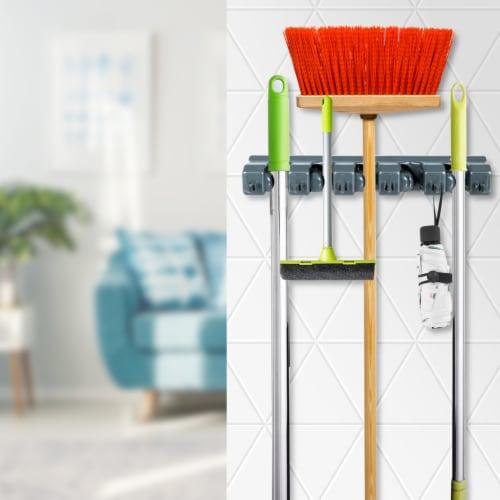Costway Mop Broom Holder Garden Tool Rack Organizer 5 Positions w/6 Hooks Wall Mounted Perspective: top