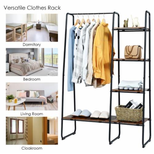 Costway Metal Garment Rack Free Standing Closet Organizer w/5 Shelves Hanging Bar Black Perspective: top