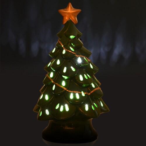 Costway 11.5''Pre-Lit Ceramic Christmas Tree Tabletop Lights Green Perspective: top