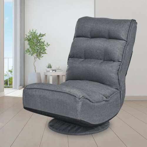 Costway Gaming Chair Fabric 5-Position Folding Lazy Sofa 360 Degree Swivel Grey Perspective: top