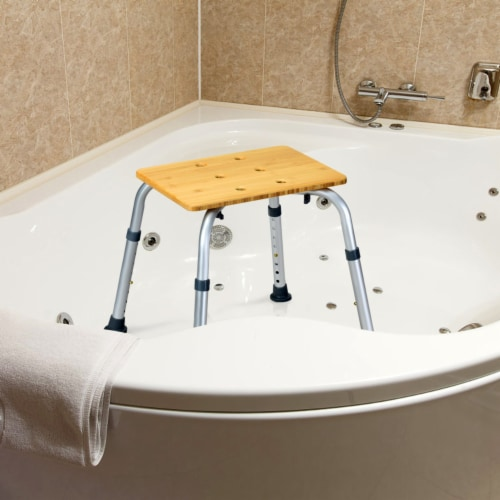 Costway Bamboo Bath Seat Shower Chair Square Shaped Stool Slip-Resistant Rubber Tip New Perspective: top