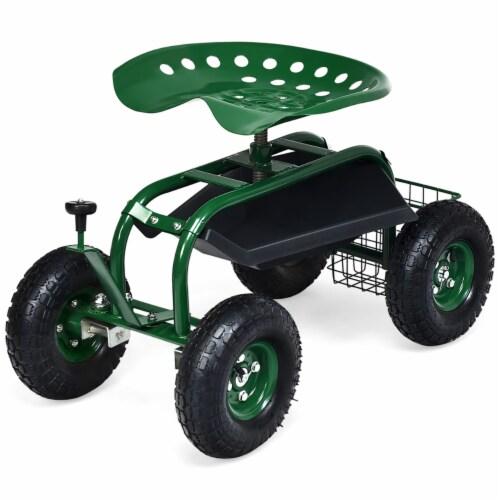 Costway Garden Cart Rolling Work Seat w/ Tool Tray Basket Green Perspective: top