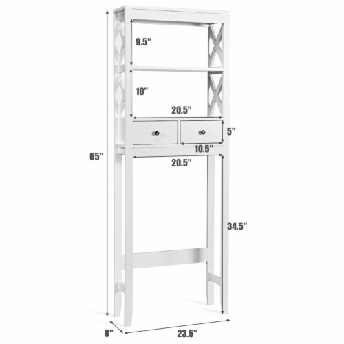 Costway Over The Toilet Space Saver Bathroom Organizer Storage Shelf w/ 2 Drawers White Perspective: top