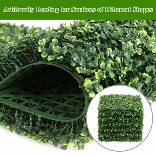 Costway 12 PCS 20''x20'' Artificial Boxwood Plant Wall Panel Hedge Privacy Fence Perspective: top